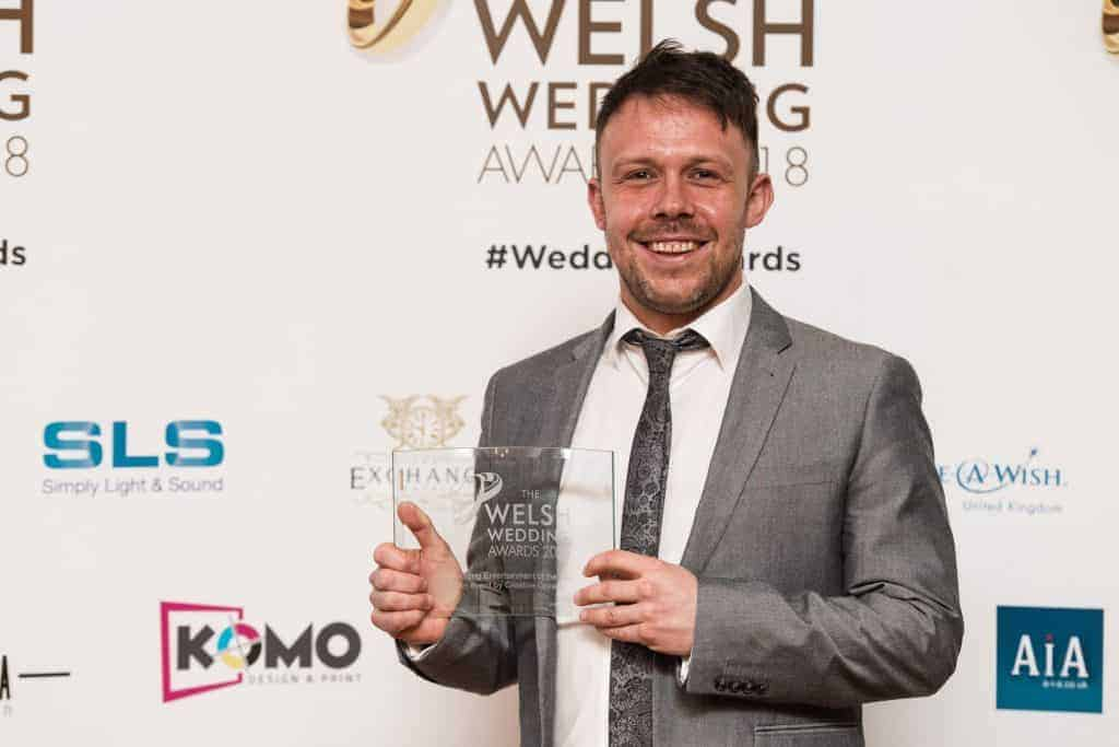 Cameron with Welsh Wedding Award Trophy